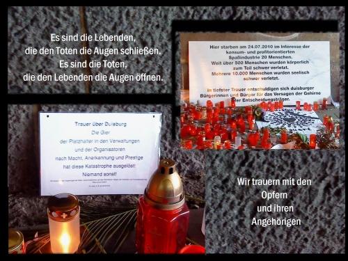 Gedenken an die Opfer der Loveparade